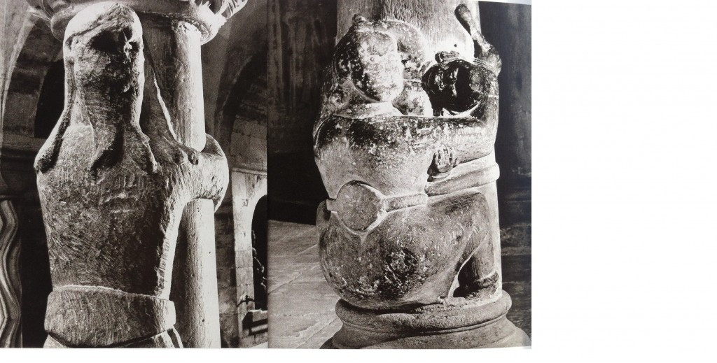 "Pillar-breakers or pillar-huggers at Lund Cathedral, photograph by Gerard Franceschi in Jorn's publication  ""Skånes stenskulptur under 1100-talet"" (12th-Century Stone Sculpture of Scania), 1965."