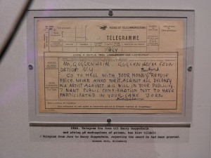 In 1964, Asger Jorn was awarded a Guggenheim Award including a generous cash prize, by an international jury assembled by Lawrence Alloway. The following day Jorn sent this telegram to the president of the Guggenheim, Harry F. Guggenheim : GO TO HELL BASTARD—STOP—REFUSE PRIZE—STOP—NEVER ASKED FOR IT—STOP—AGAINST ALL DECENCY MIX ARTIST AGAINST HIS WILL IN YOUR PUBLICITY—STOP—I WANT PUBLIC CONFIRMATION NOT TO HAVE PARTICIPATED IN YOUR RIDICULOUS GAME.
